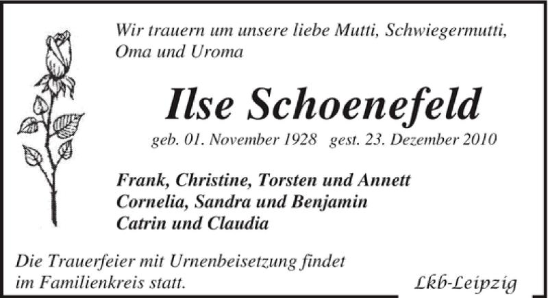 Traueranzeige für Ilse Schoenefeld vom 08.01.2011 aus Leipziger Volkszeitung