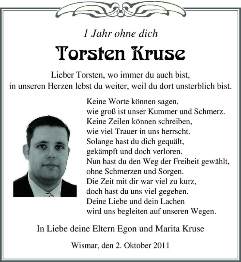 Traueranzeige für Torsten Kruse vom 01.10.2011 aus Ostsee-Zeitung