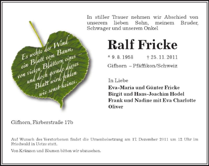 Traueranzeige für Ralf Fricke vom 10.12.2011 aus Aller Zeitung / Wolfsburger Allgemeine