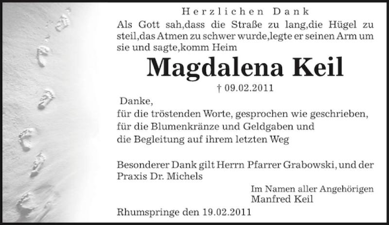 Traueranzeige für Magdalena Keil vom 19.02.2011 aus Eichsfelder Tageblatt