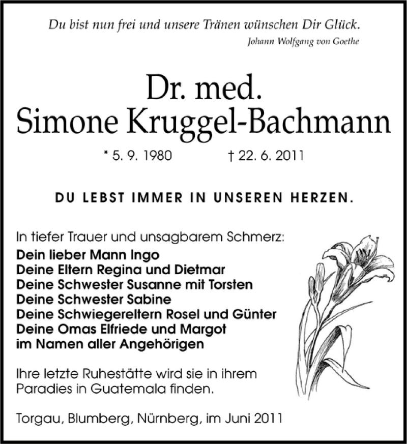 Traueranzeige für Dr. med. Simone Kruggel-Bachmann vom 05.07.2011 aus Leipziger Volkszeitung
