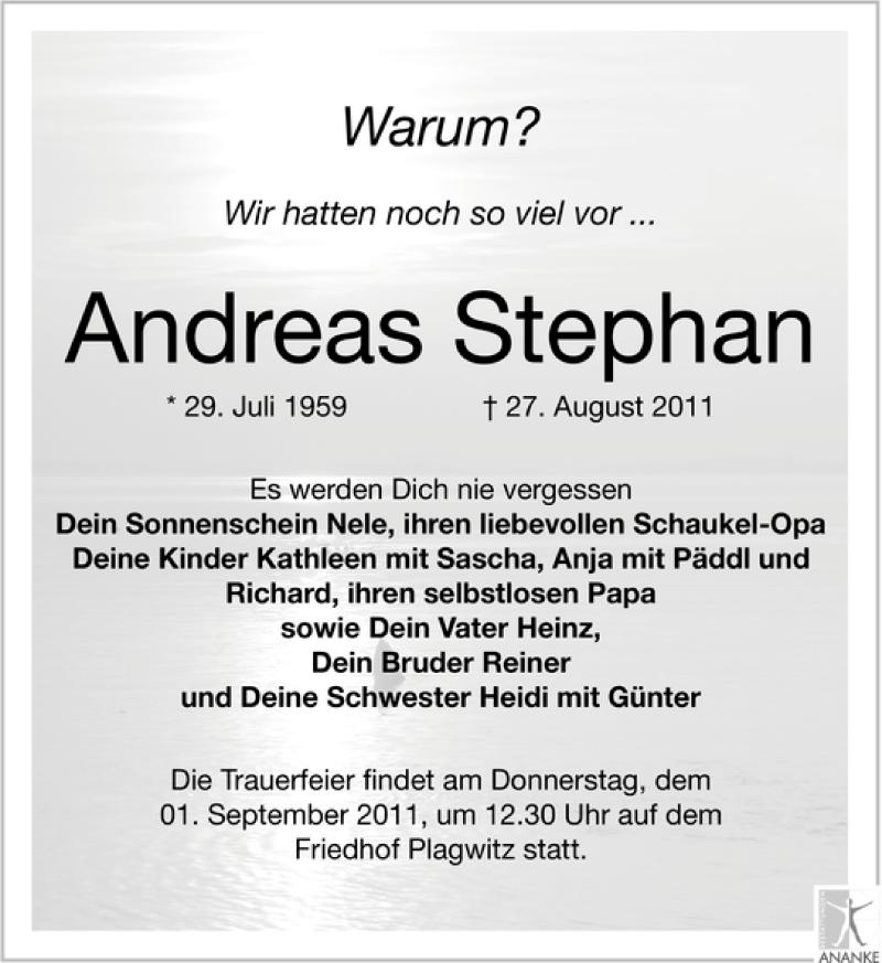 Traueranzeige von  Andreas Stephan