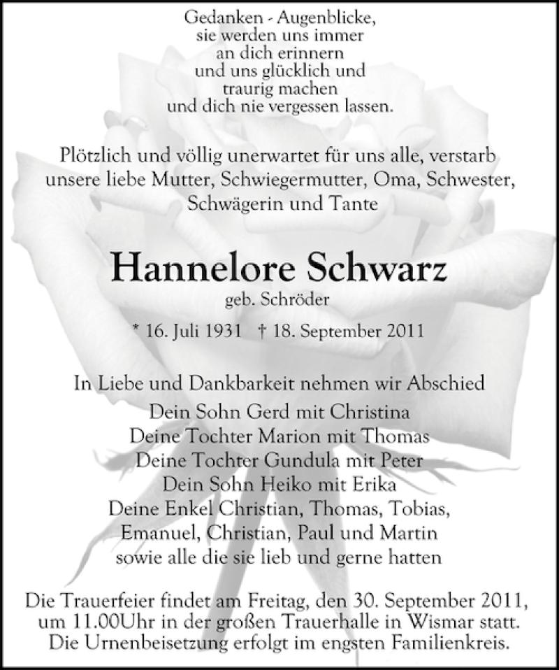 Traueranzeige für Hannelore Schwarz vom 24.09.2011 aus Ostsee-Zeitung