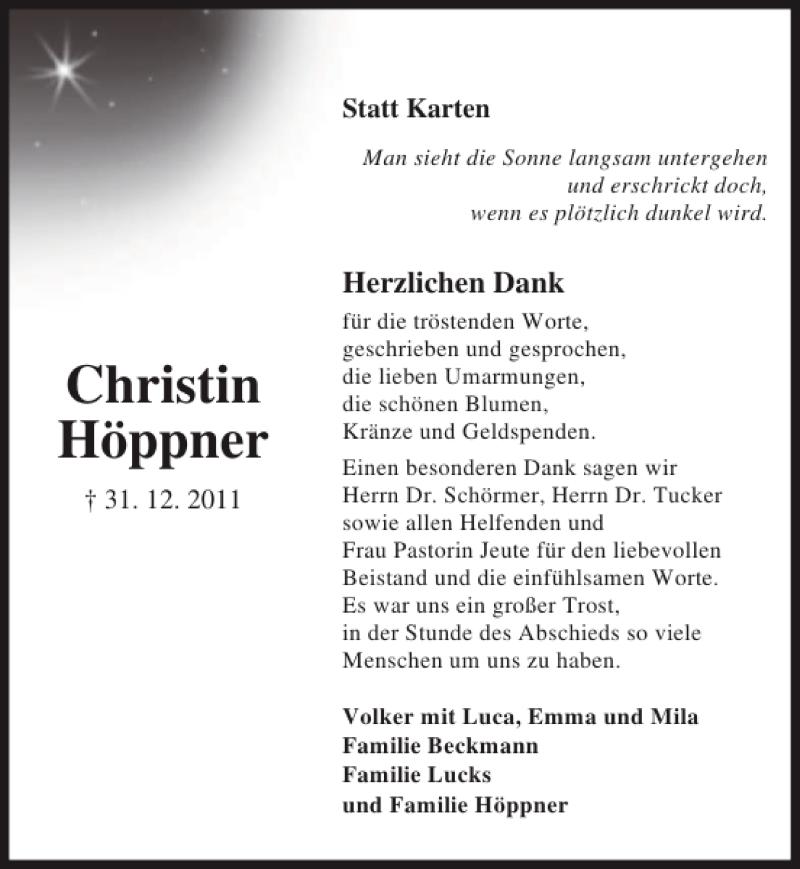 Traueranzeige für Christin Höppner vom 28.01.2012 aus Lübecker Nachrichten