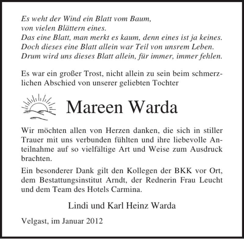 Traueranzeige für Mareen Warda vom 28.01.2012 aus Ostsee-Zeitung