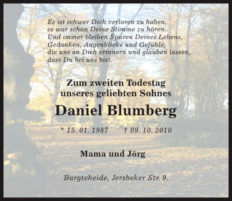 Traueranzeige für Daniel Blumberg vom 09.10.2012 aus Kieler Nachrichten / Segeberger Zeitung