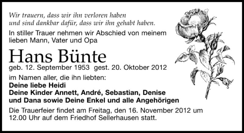 Traueranzeige von  Hans Bünte