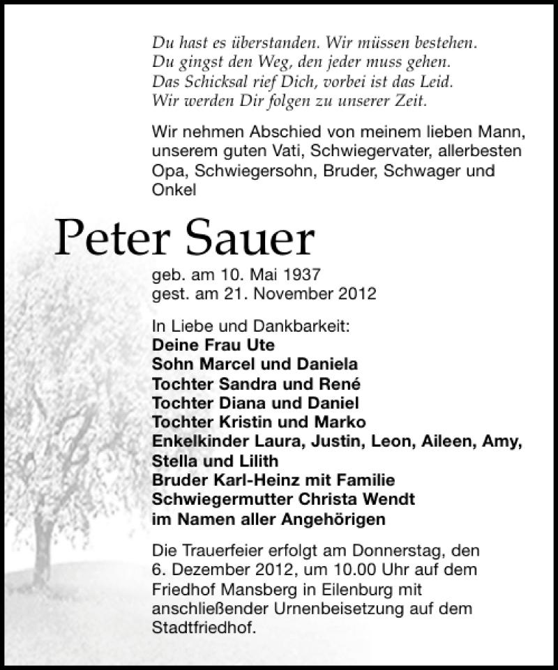 Traueranzeige für Peter Sauer vom 24.11.2012 aus Leipziger Volkszeitung