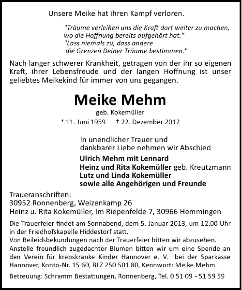 Traueranzeige für Meike Mehm vom 29.12.2012 aus HAZ/NP