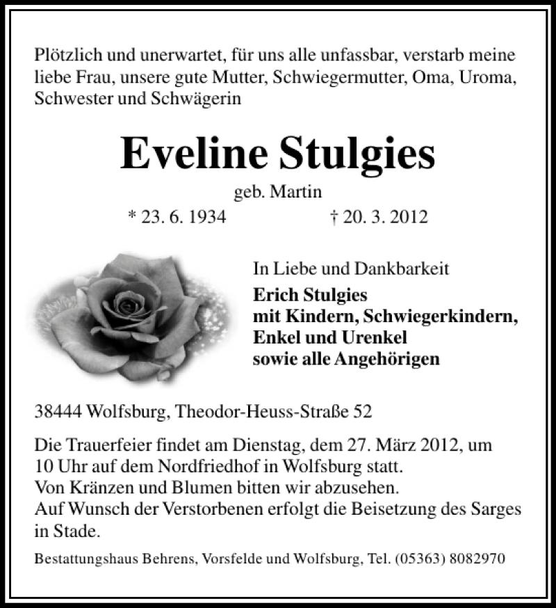 Traueranzeige für Eveline Stulgies vom 24.03.2012 aus Aller Zeitung / Wolfsburger Allgemeine