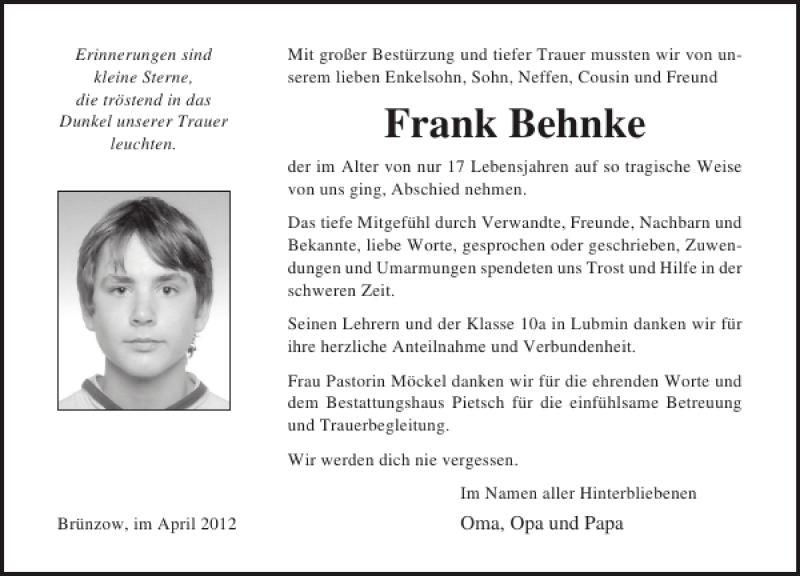Traueranzeige für Frank Behnke vom 14.04.2012 aus Ostsee-Zeitung
