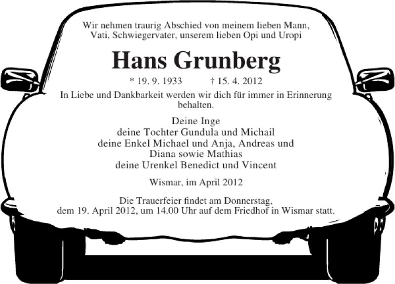 Traueranzeige für Hans Grunberg vom 18.04.2012 aus Ostsee-Zeitung