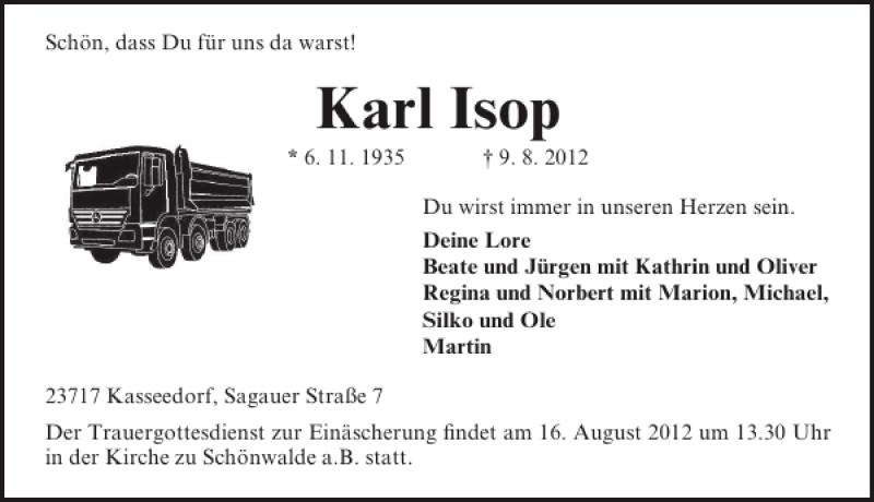 Traueranzeige für Karl Isop vom 14.08.2012 aus Lübecker Nachrichten