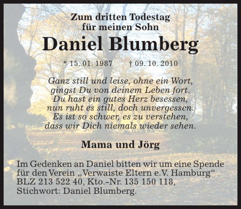 Traueranzeige für Daniel Blumberg vom 09.10.2013 aus Kieler Nachrichten / Segeberger Zeitung
