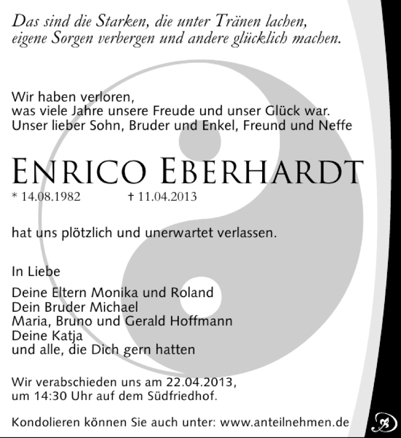 Traueranzeige für Enrico Eberhardt vom 20.04.2013 aus Leipziger Volkszeitung