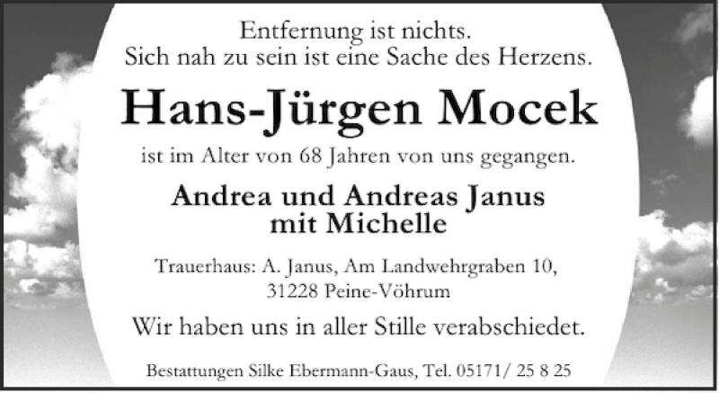 Traueranzeige für Hans-Jürgen Mocek vom 18.05.2013 aus Peiner Allgemeine Zeitung