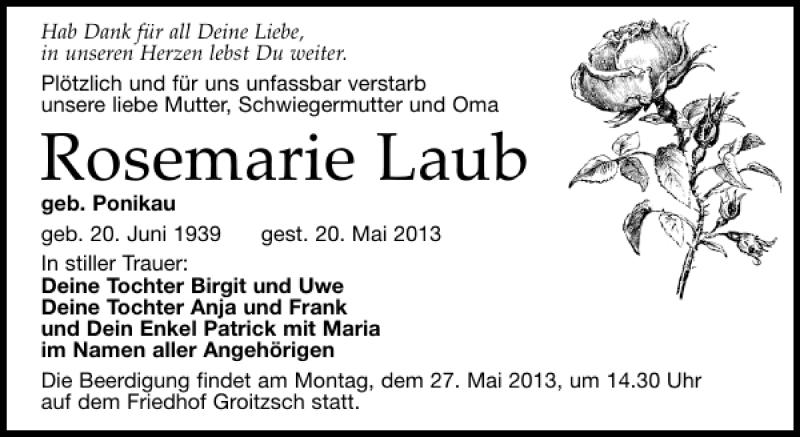 Traueranzeige für Rosemarie Laub vom 23.05.2013 aus Leipziger Volkszeitung
