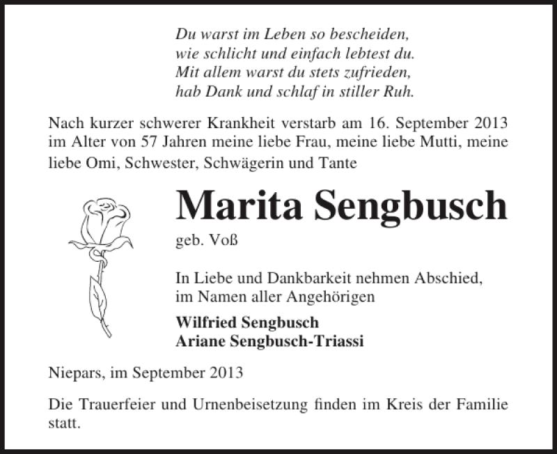Traueranzeige für Marita Sengbusch vom 21.09.2013 aus Ostsee-Zeitung