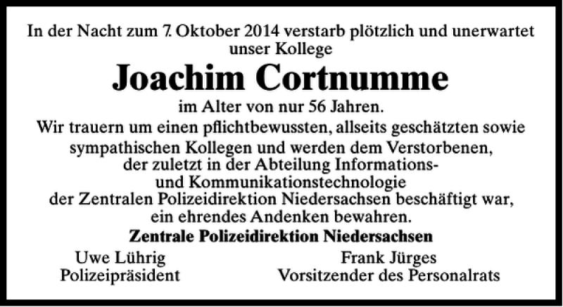 Traueranzeige für Joachim Cortnumme vom 11.10.2014 aus HAZ/NP