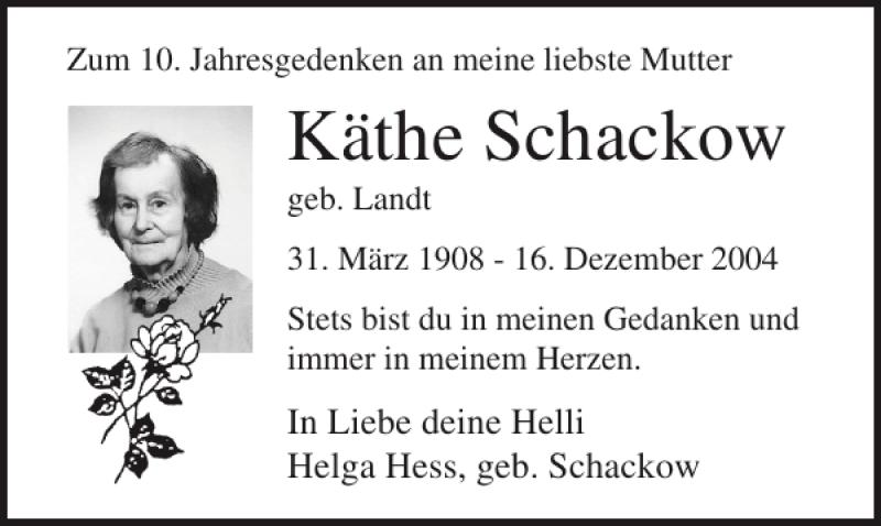 Traueranzeige für Käthe Schackow vom 16.12.2014 aus Ostsee-Zeitung