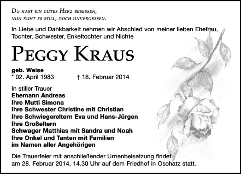Traueranzeige für Peggy Kraus vom 25.02.2014 aus Leipziger Volkszeitung