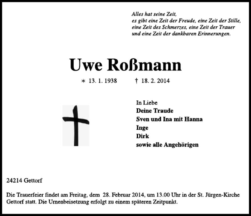 Traueranzeige für Uwe Roßmann vom 22.02.2014 aus Kieler Nachrichten / Segeberger Zeitung