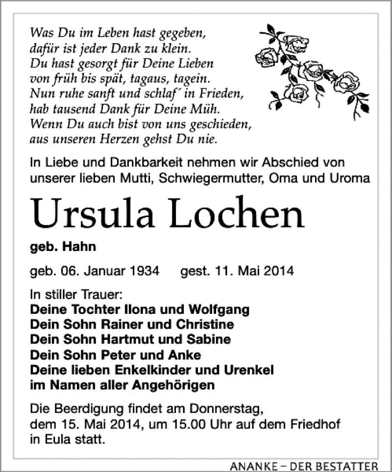 Traueranzeige für Ursula Lochen vom 14.05.2014 aus Leipziger Volkszeitung