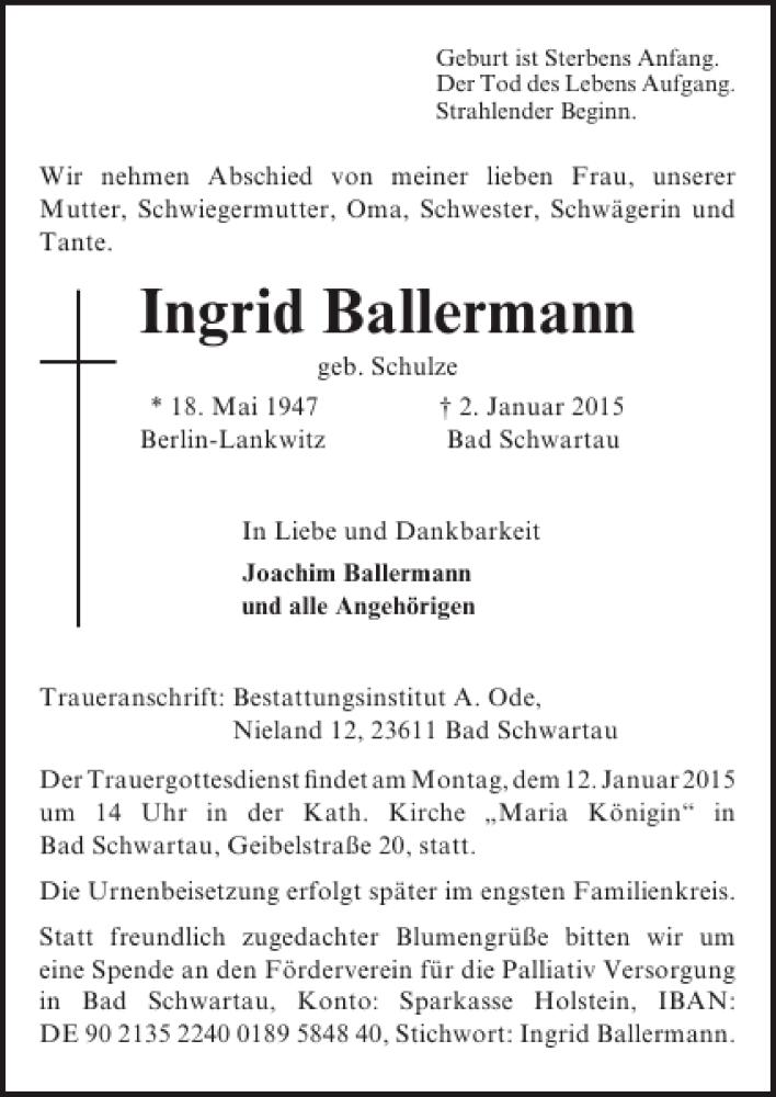 Traueranzeige für Ingrid Ballermann vom 07.01.2015 aus Lübecker Nachrichten