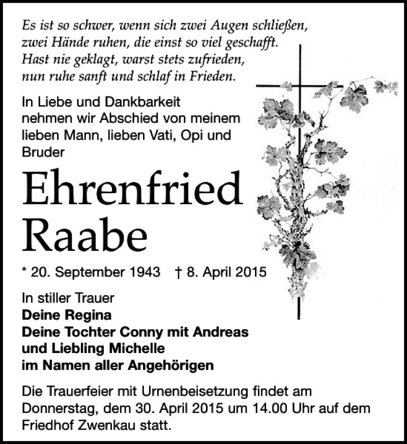 Traueranzeige für Ehrenfried Raabe vom 18.04.2015 aus Leipziger Volkszeitung