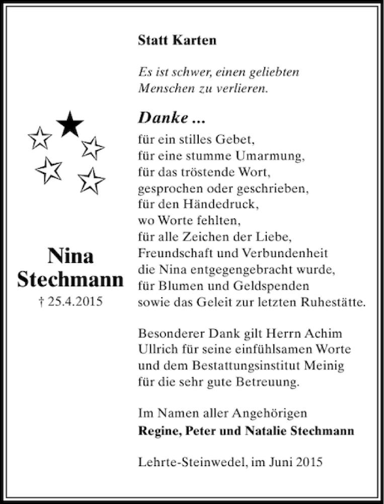 Traueranzeige für Nina Stechmann vom 20.05.2015 aus HAZ/NP