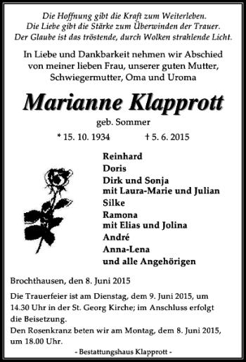 Traueranzeige für Marianne Klapprott vom 08.06.2015 aus Eichsfelder Tageblatt
