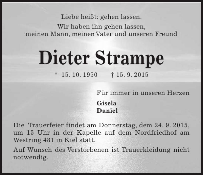 Traueranzeige für Dieter Strampe vom 19.09.2015 aus Kieler Nachrichten / Segeberger Zeitung