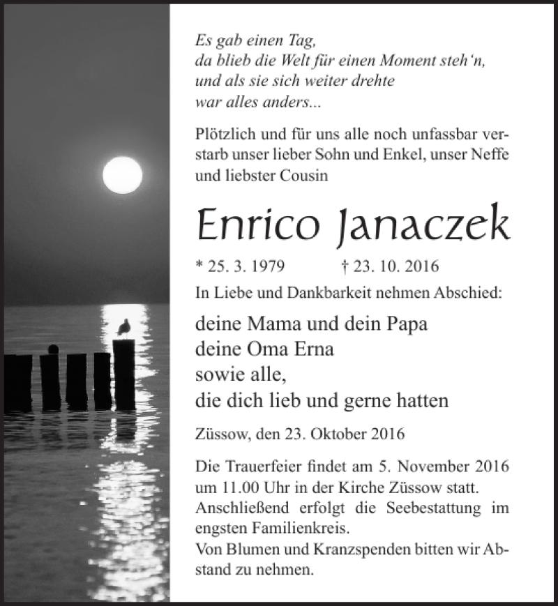 Traueranzeige für Enrico Janaczek vom 29.10.2016 aus Ostsee-Zeitung