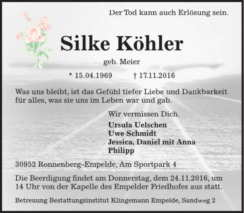 Traueranzeige für Silke Köhler vom 22.11.2016 aus HAZ/NP