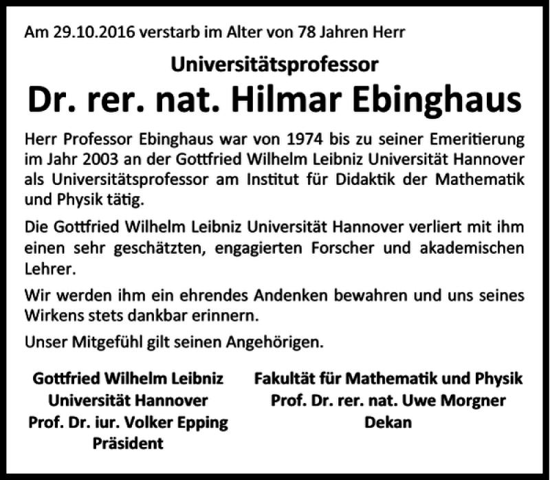 Traueranzeige für Dr. rer. nat. Hilmar Ebinghaus vom 03.12.2016 aus HAZ/NP