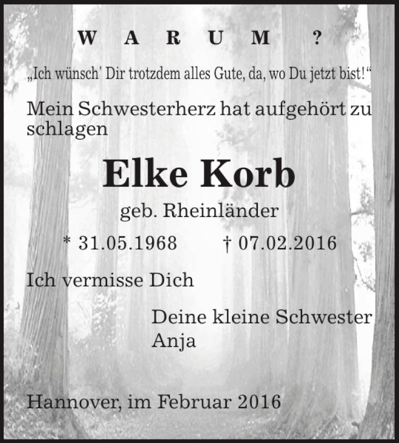 Traueranzeige für Elke Korb vom 10.02.2016 aus HAZ/NP