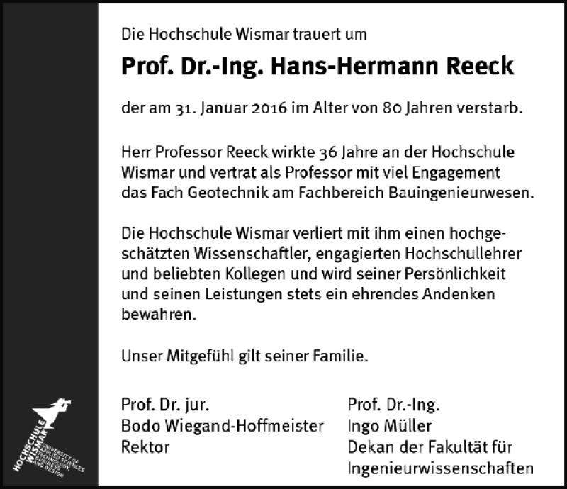 Traueranzeige für Prof. Dr.-Ing. Hans-Hermann Reeck vom 13.02.2016 aus Ostsee-Zeitung