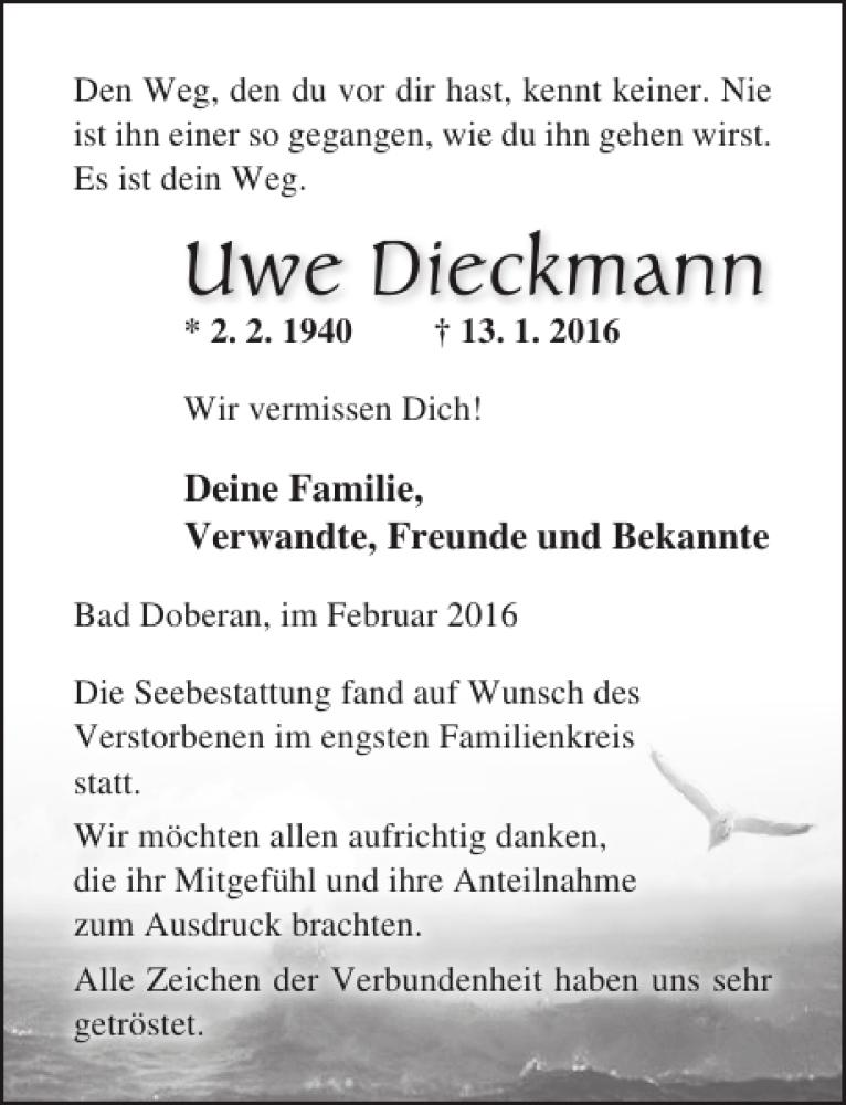 Traueranzeige für Uwe Dieckmann vom 13.02.2016 aus Ostsee-Zeitung