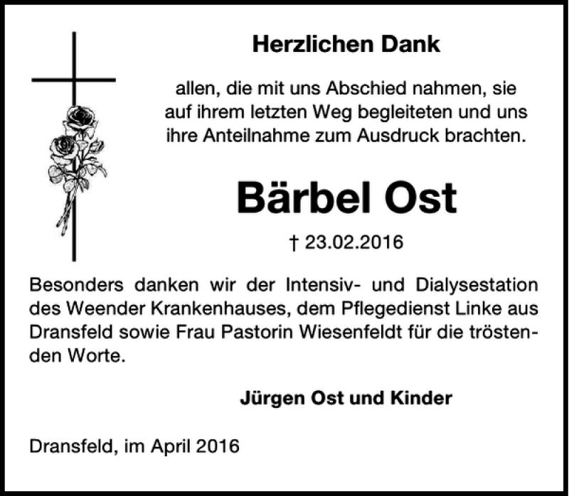 Traueranzeige für Bärbel Ost vom 02.04.2016 aus Göttinger Tageblatt
