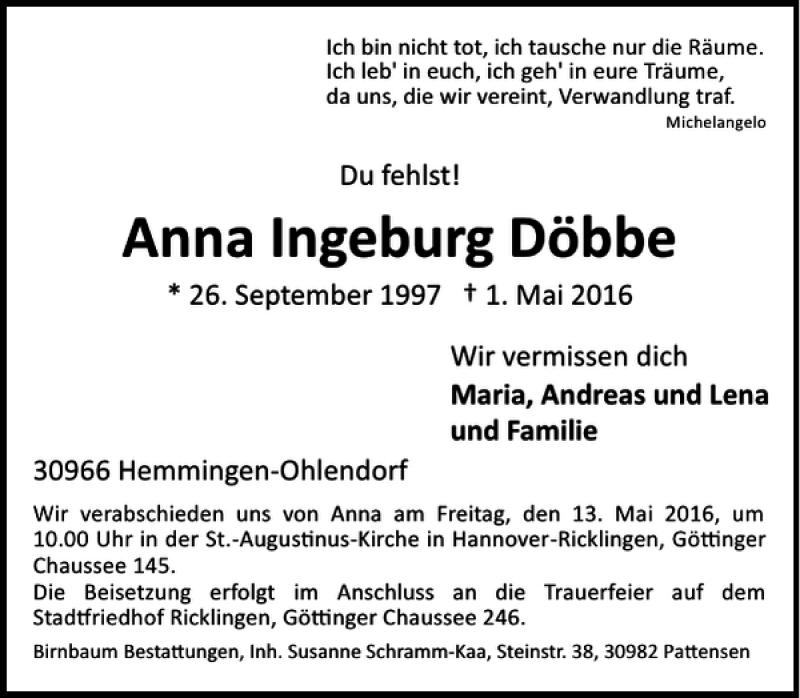 Traueranzeige für Anna  Döbbe vom 07.05.2016 aus HAZ/NP