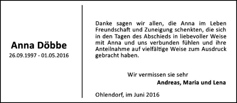 Traueranzeige für Anna  Döbbe vom 11.06.2016 aus HAZ/NP