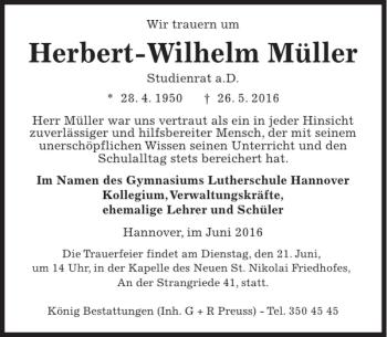 Traueranzeige für Herbert-Wilhelm Müller vom 18.06.2016 aus HAZ/NP