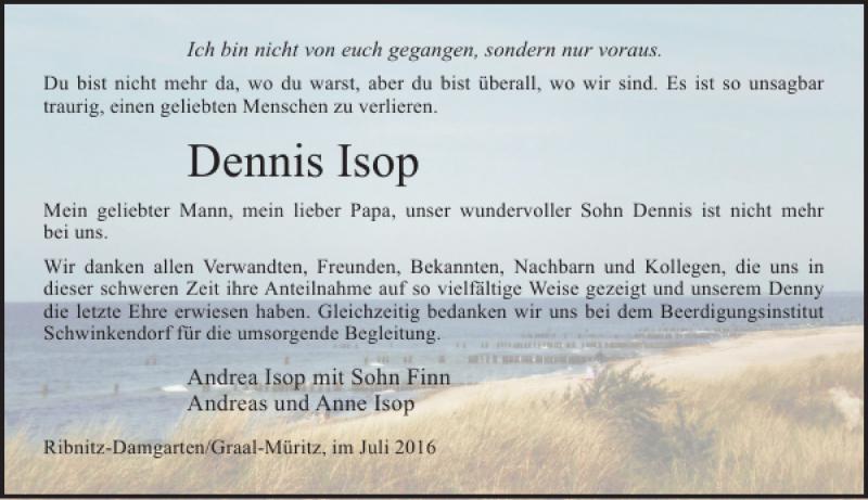 Traueranzeige für Dennis Isop vom 30.07.2016 aus Ostsee-Zeitung