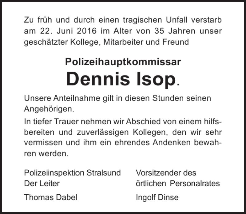 Traueranzeige für Dennis Isop vom 07.07.2016 aus Ostsee-Zeitung