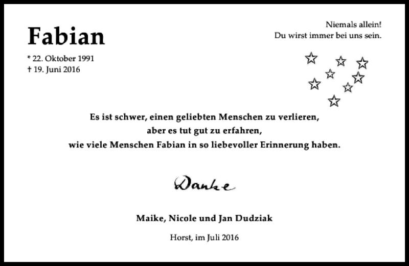 Traueranzeige für Fabian Dudziak vom 16.07.2016 aus HAZ/NP