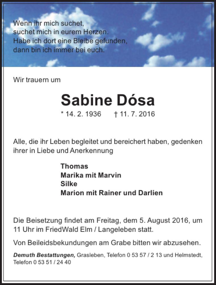Traueranzeige für Sabine Dosa vom 30.07.2016 aus Aller Zeitung / Wolfsburger Allgemeine