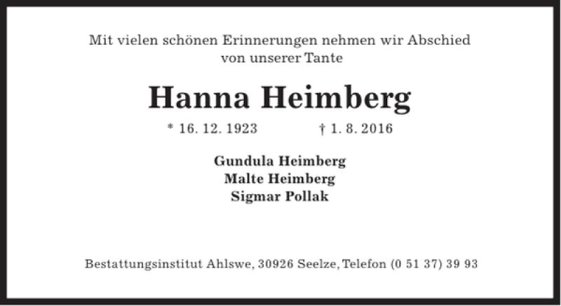 Traueranzeige für Hanna Heimberg vom 13.08.2016 aus HAZ/NP