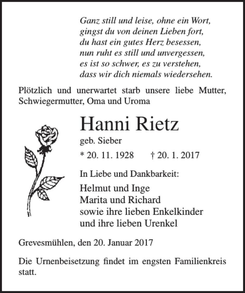 Traueranzeige für Hanni Rietz vom 25.01.2017 aus Ostsee-Zeitung