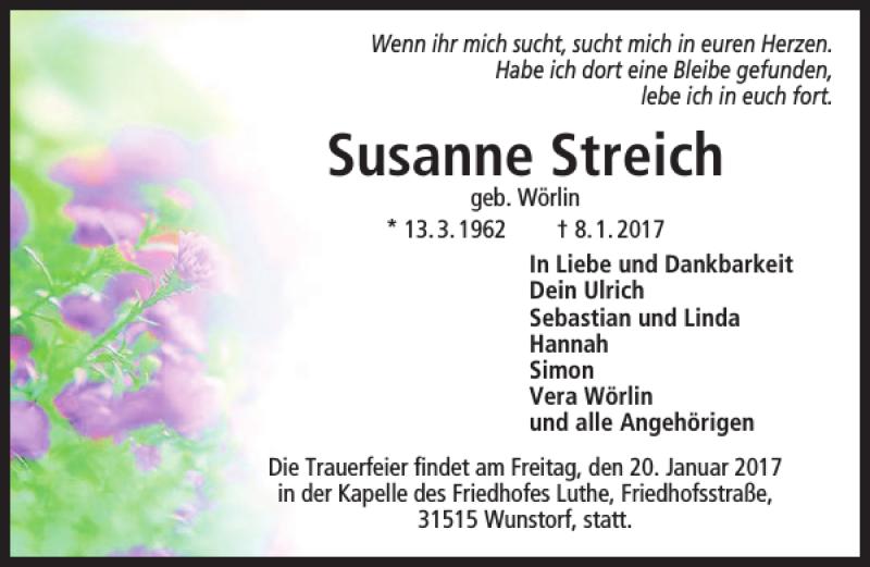 Traueranzeige für Susanne Streich vom 14.01.2017 aus HAZ/NP