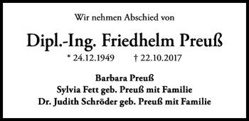 Traueranzeige für Friedhelm Preuß vom 28.10.2017 aus HAZ/NP